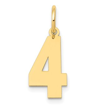 14k Medium Polished Number 4 Charm