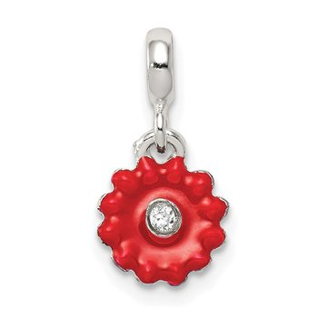 Sterling Silver Red Enameled Flower w/CZ Enhancer