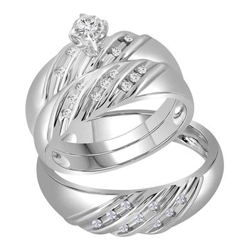 14kt White Gold His & Hers Round Diamond Round Matching Bridal Wedding Ring Band Set 1/4 Cttw