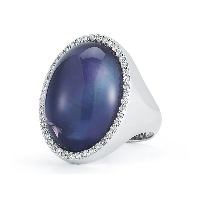 Roberto Coin  #21763 Of Ring With Diamonds, Amethyst And Mother Of Pearl