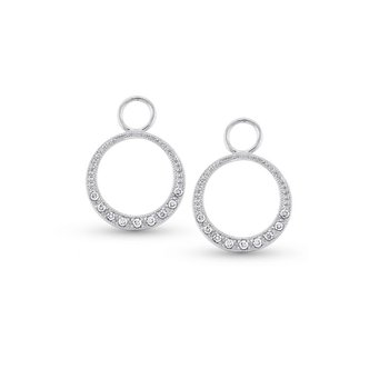 Diamond Small Circle Earring Charms in 14k White Gold with 18 Diamonds weighing .12ct tw.