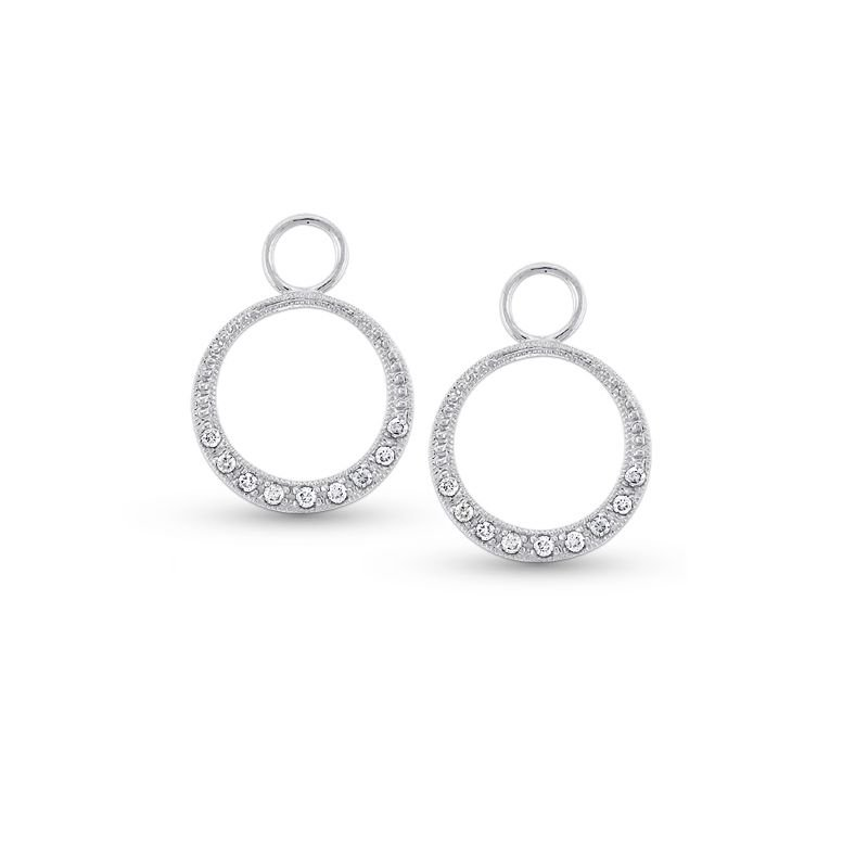 KC Designs Diamond Small Circle Earring Charms in 14k White Gold with 18 Diamonds weighing .12ct tw.