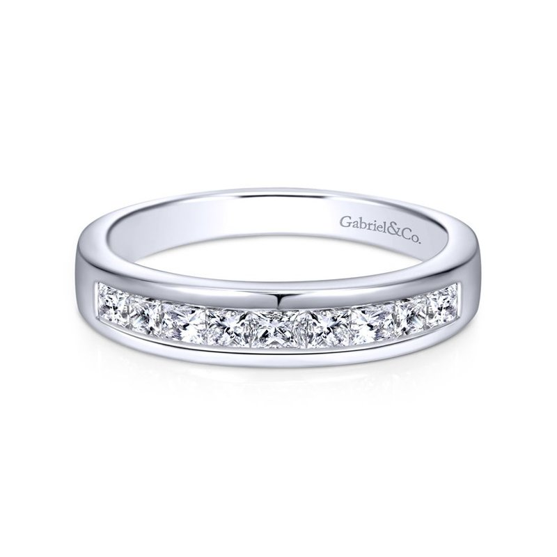 Gabriel Bridal 14k White Gold Channel Set Princess Cut 9 Stone Diamond Anniversary Band