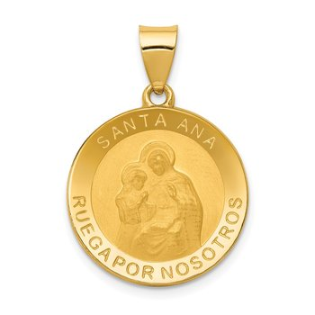 14K Polished/Satin Hollow Spanish Saint Anne Medal Pendant