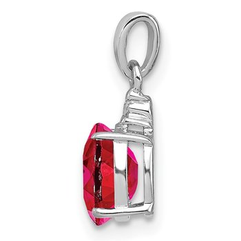 Sterling Silver Rhodium Plated Diamond & Ruby Oval Pendant