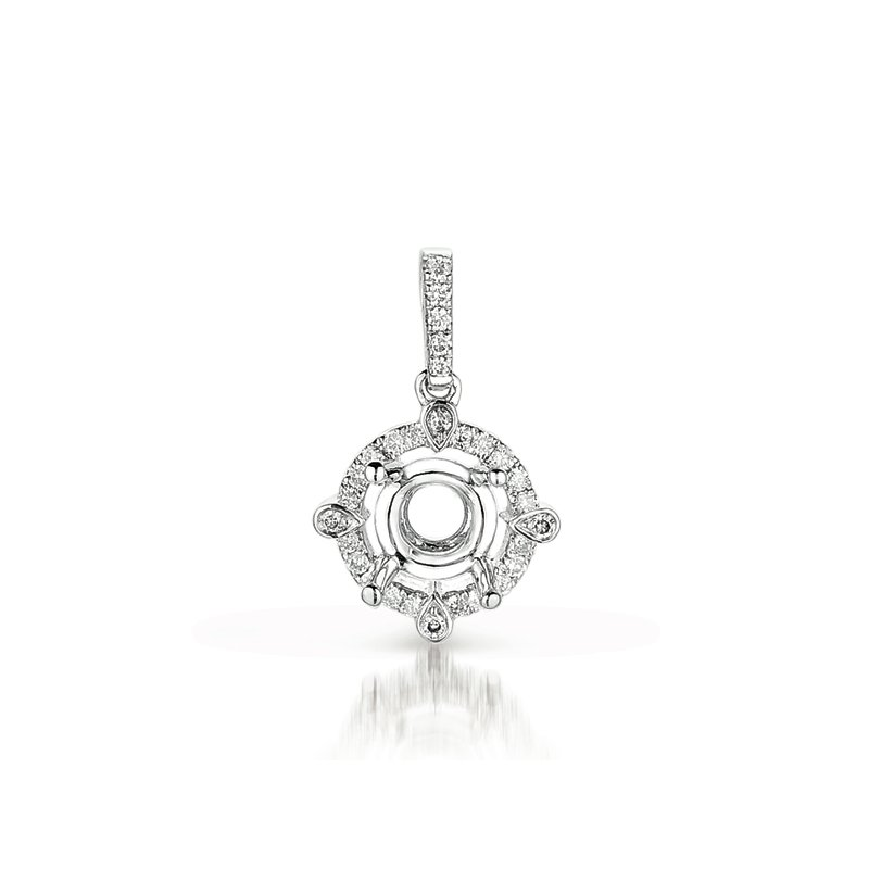 S. Kashi  & Sons Diamond Pendant For .25ct  Round Stone