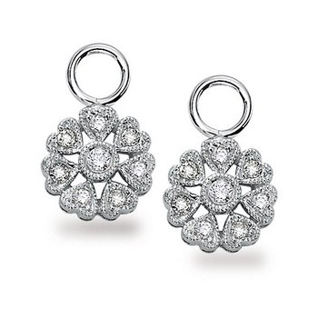 Diamond Floral Earring Charms in 14k White Gold with 16 Diamonds weighing .18ct tw.
