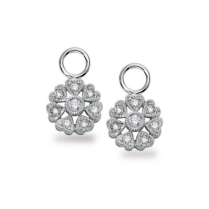 KC Designs Diamond Floral Earring Charms in 14k White Gold with 16 Diamonds weighing .18ct tw.