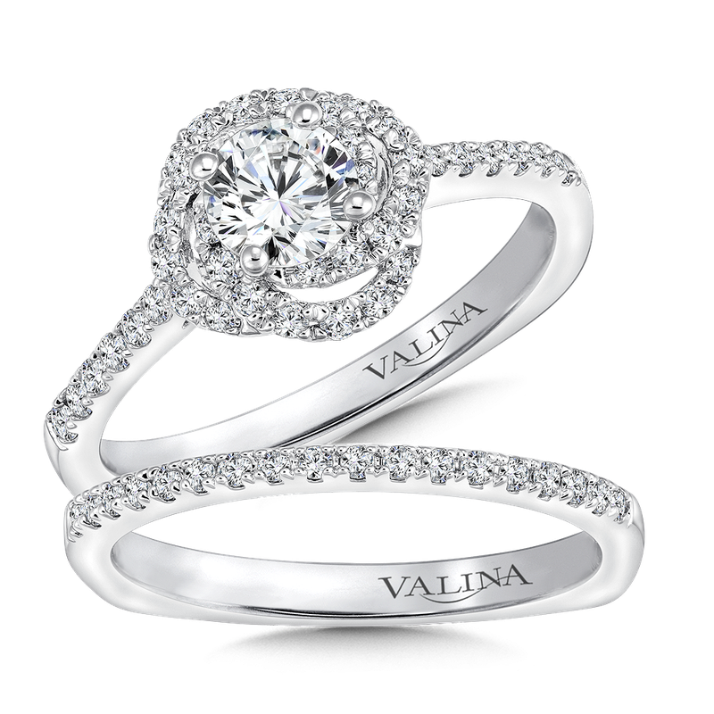 Valina Bridals Floral shaped halo .30 ct. tw., 1/2 ct. round center
