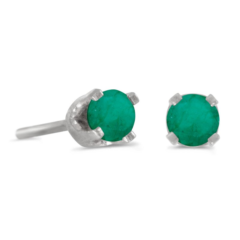 3 mm Petite Round Genuine Emerald Stud Earrings in 14k White Gold