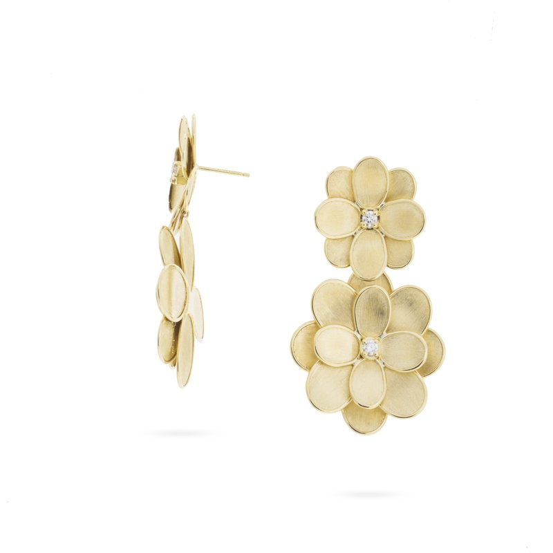 Marco Bicego Marco Bicego® Petali Collection 18K Yellow Gold and Diamond Double Flower Drop Earrings