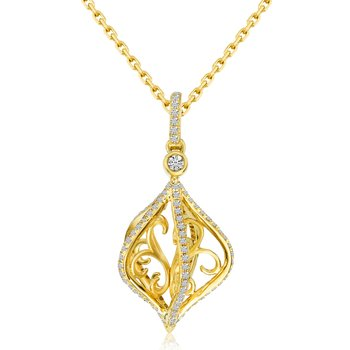 14k Yellow Gold Cage Swirl Diamond Fashion Pendant