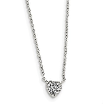 Sterling Silver 16 inch Rhodium-plated Polished CZ Heart Necklace