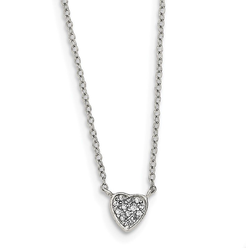 Quality Gold Sterling Silver 16 inch Rhodium-plated Polished CZ Heart Necklace
