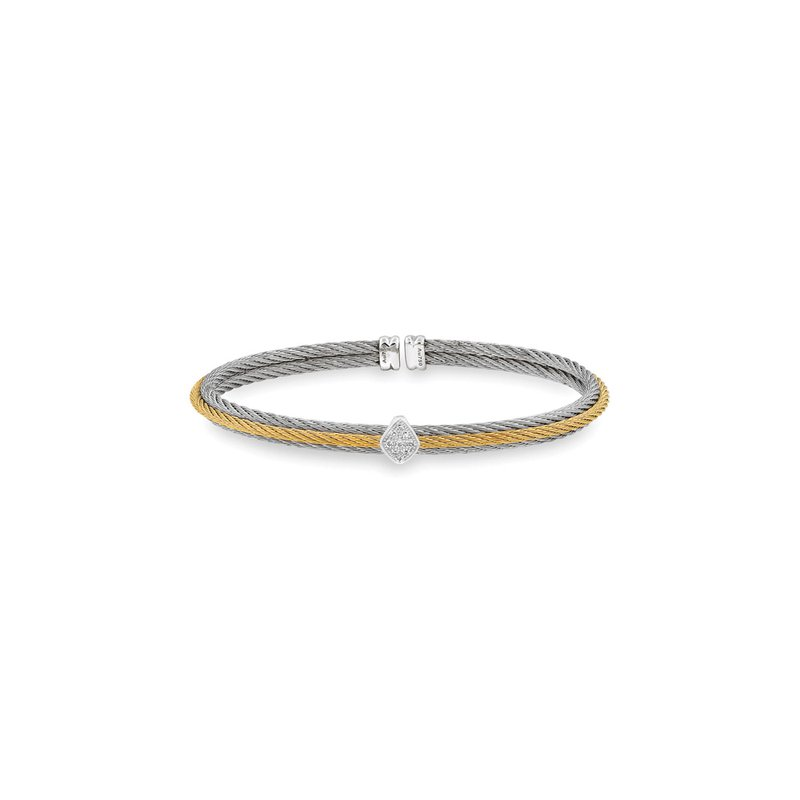 ALOR Grey & Yellow Cable Teardrop Bracelet with 18kt White Gold & Diamonds