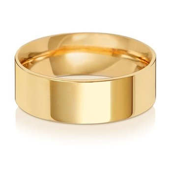 9Ct Yellow Gold 7mm Flat Court Wedding Ring