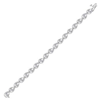 10kt White Gold Womens Round Diamond Teardrop Cluster Fashion Bracelet 1-1/4 Cttw