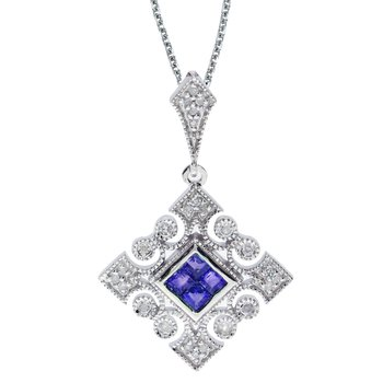14k White Gold Sapphire and .10 ct Diamond Filigree Pendant