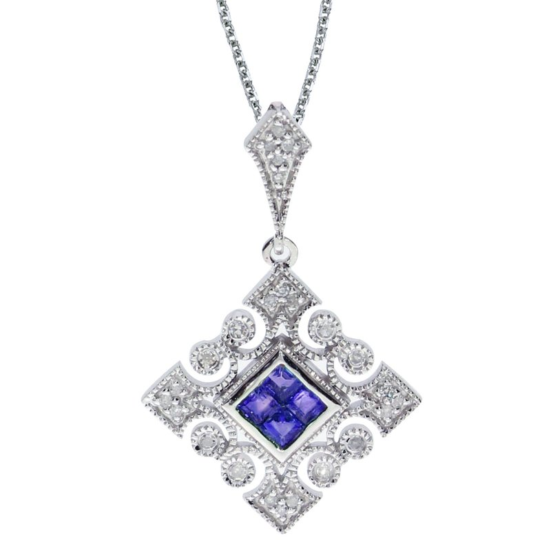 Color Merchants 14k White Gold Sapphire and .10 ct Diamond Filigree Pendant