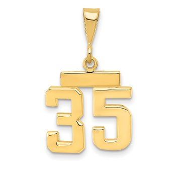 14k Small Polished Number 35 Charm