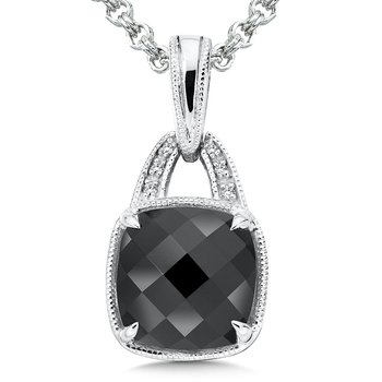 Sterling Silver Onyx White Diamond Pendant