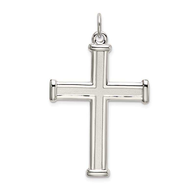 Quality Gold Sterling Silver Polished and Satin Cross Pendant