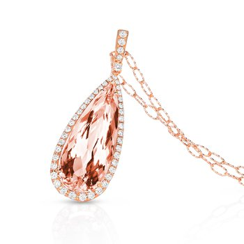 Rose Morganite Pear Halo Pendant 18KR