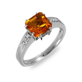 14K WG Diamond & Citrine Ring