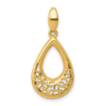 14k Polished Floral Teardrop Pendant