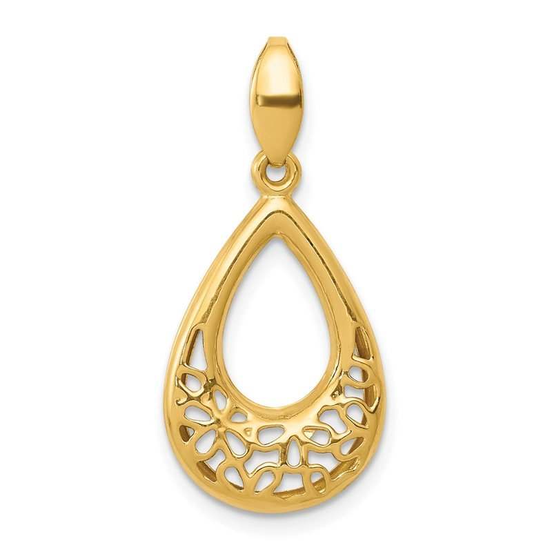 J.F. Kruse Signature Collection 14k Polished Floral Teardrop Pendant
