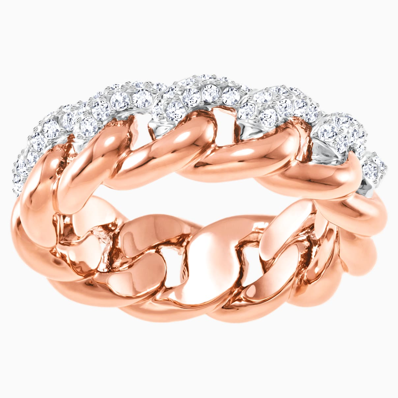 Swarovski Lane Ring, White, Rose-gold tone plated