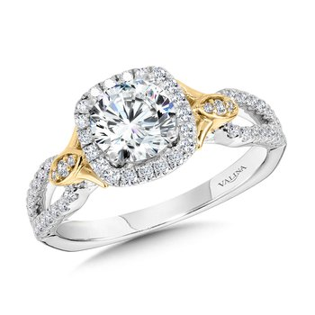Dual-Tone Split Shank Cushion-Shaped Halo Engagement Ring