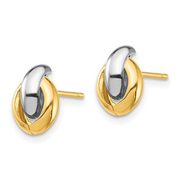 14k & White Rhodium Oval Post Earrings