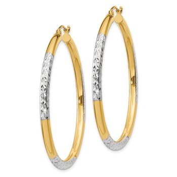14K & Rhodium Diamond-cut 3x45mm Hoop Earrings