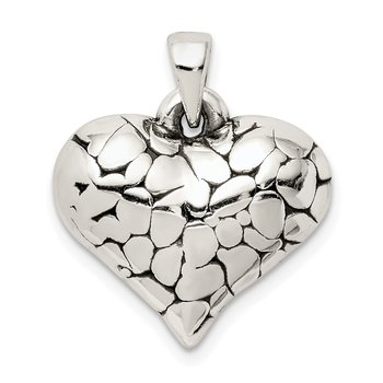 Sterling Silver Textured Antique Heart Pendant