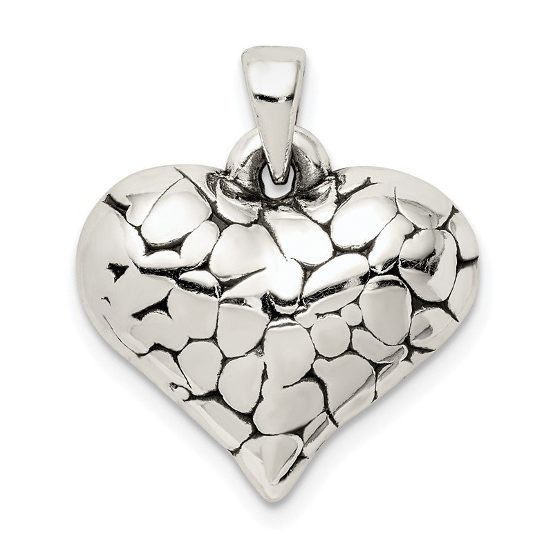 Quality Gold Sterling Silver Textured Antique Heart Pendant