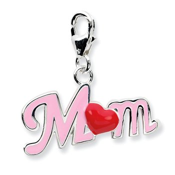 Sterling Silver RH 3-D Enameled Mom w/Lobster Clasp Charm