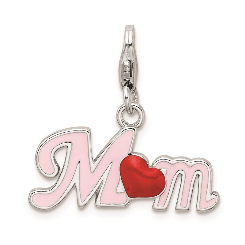 Quality Gold Sterling Silver RH 3-D Enameled Mom w/Lobster Clasp Charm
