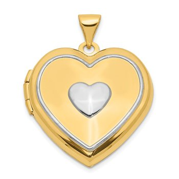 14k w/Rhodium 21mm Heart w/Key Charm Inside Locket