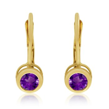 14k Yellow Gold 4mm Amethyst Bezel Leverback Earrings