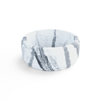 Men's Step Edge White Marble Silicone Ring