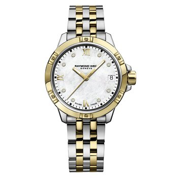 Ladies Quartz Date Watch, 30mm Two-tone, 8 diamonds