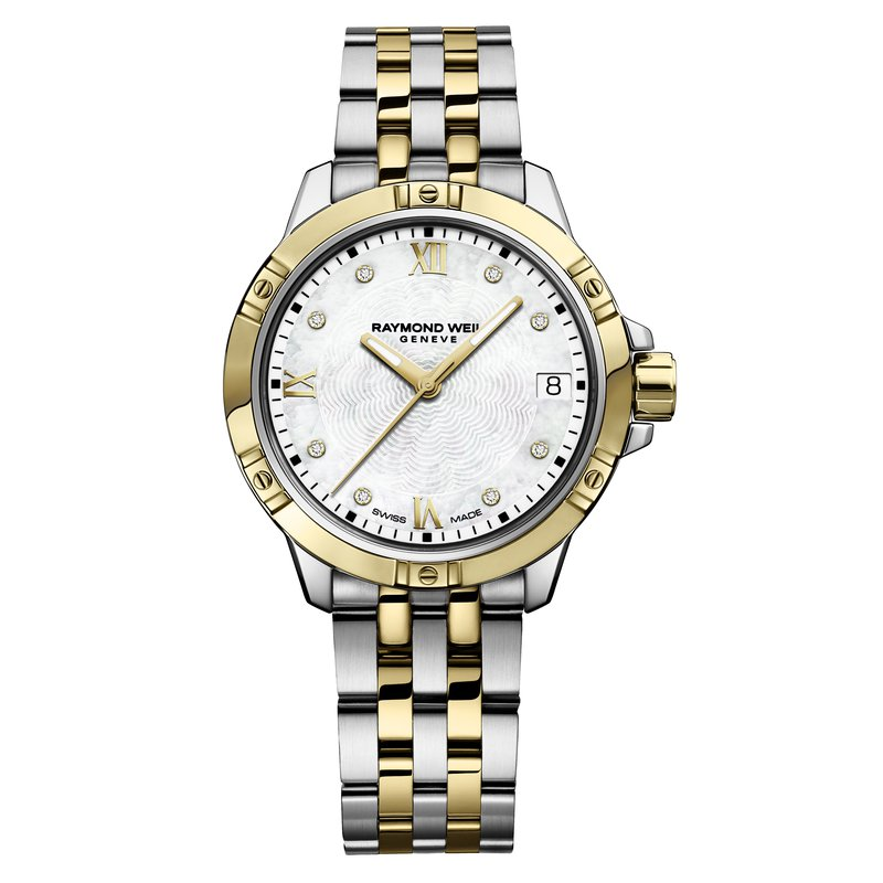 Raymond Weil Ladies Quartz Date Watch, 30mm Two-tone, 8 diamonds