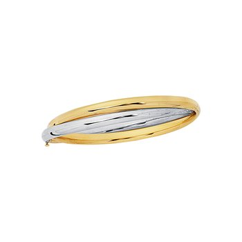 14K Two-tone Gold Interlocked Bangle