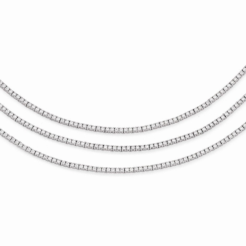 Quality Gold Sterling Silver Rhodium Plated CZ 3 Layered 16in Necklace