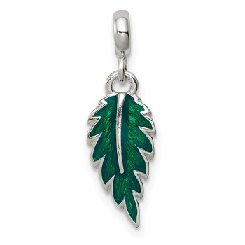 Sterling Silver Green Enameled Leaf Enhancer