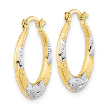 10K and Rhodium Hollow Hoop Earrings