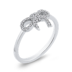 Essentials 10K White Gold 1/5 ct Round Diamond Bowknot Fashion Ring