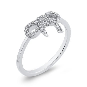10K White Gold 1/5 ct Round Diamond Bowknot Fashion Ring