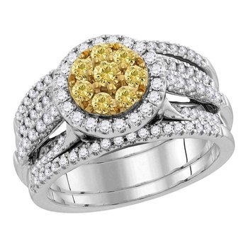 14kt White Gold Womens Round Yellow Diamond Bridal Wedding Engagement Ring Band Set 2.00 Cttw